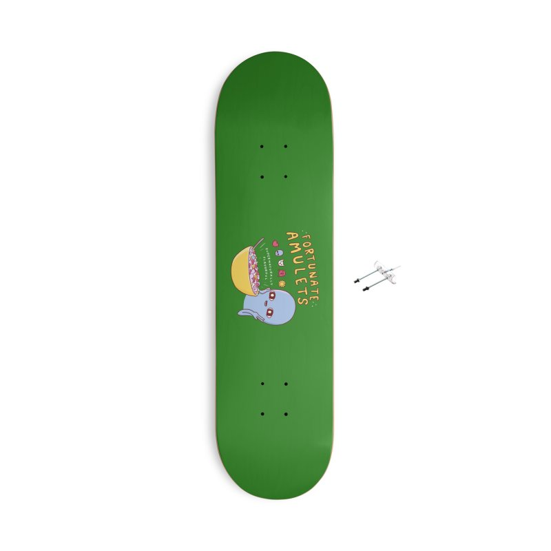 STRANGE PLANET SPECIAL PRODUCT: FORTUNATE AMULETS - GREEN Accessories With Hanging Hardware Skateboard by Nathan W Pyle