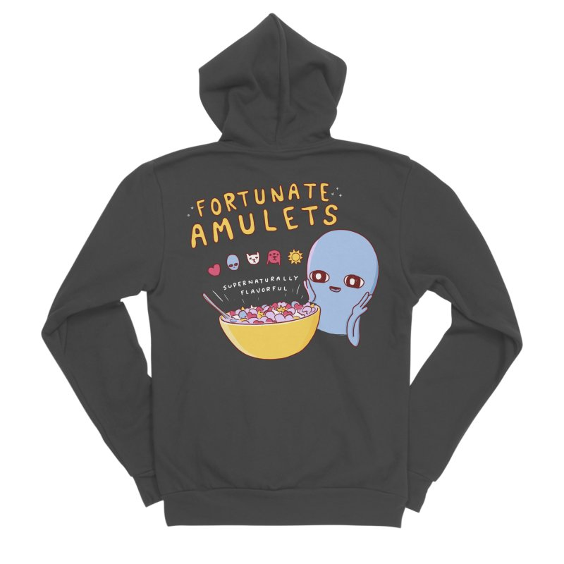 STRANGE PLANET SPECIAL PRODUCT: FORTUNATE AMULETS - GREEN Men's Sponge Fleece Zip-Up Hoody by Nathan W Pyle