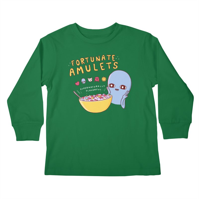 STRANGE PLANET SPECIAL PRODUCT: FORTUNATE AMULETS - GREEN Kids Longsleeve T-Shirt by Nathan W Pyle