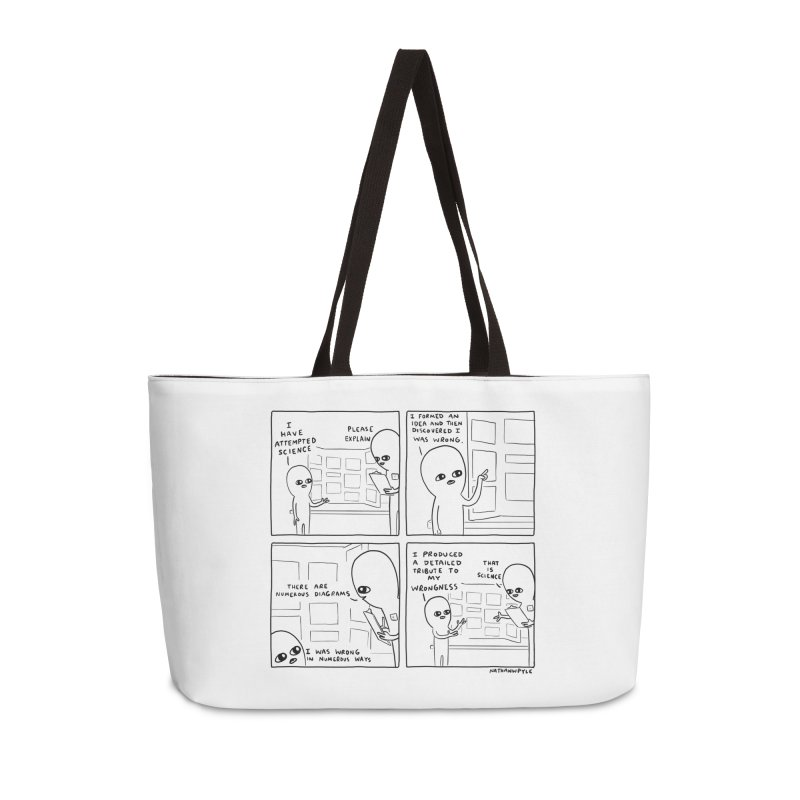 STRANGE PLANET BLACK AND WHITE: I HAVE ATTEMPTED SCIENCE Accessories Weekender Bag Bag by Nathan W Pyle