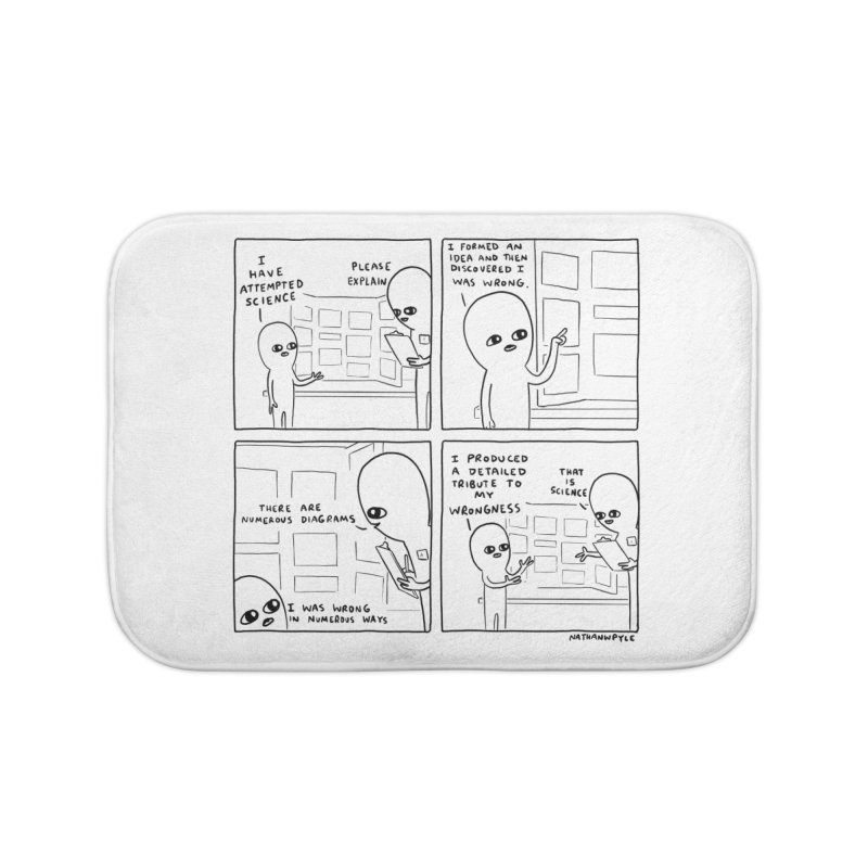 STRANGE PLANET BLACK AND WHITE: I HAVE ATTEMPTED SCIENCE Home Bath Mat by Nathan W Pyle