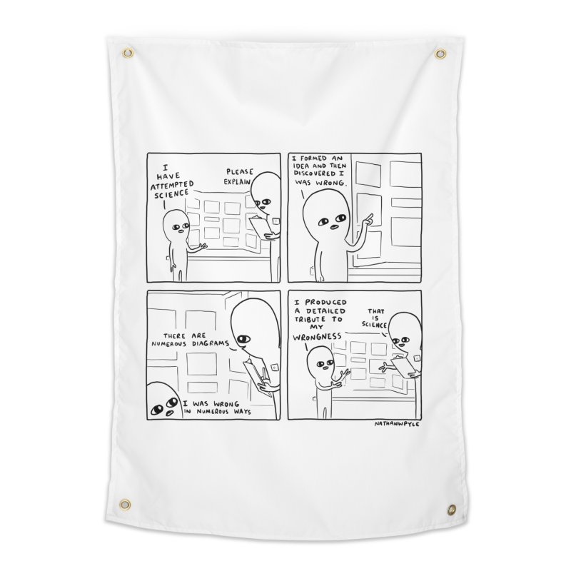 STRANGE PLANET BLACK AND WHITE: I HAVE ATTEMPTED SCIENCE Home Tapestry by Nathan W Pyle