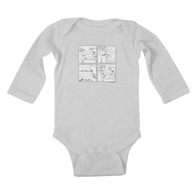 STRANGE PLANET BLACK AND WHITE: I HAVE ATTEMPTED SCIENCE Kids Baby Longsleeve Bodysuit by Nathan W Pyle