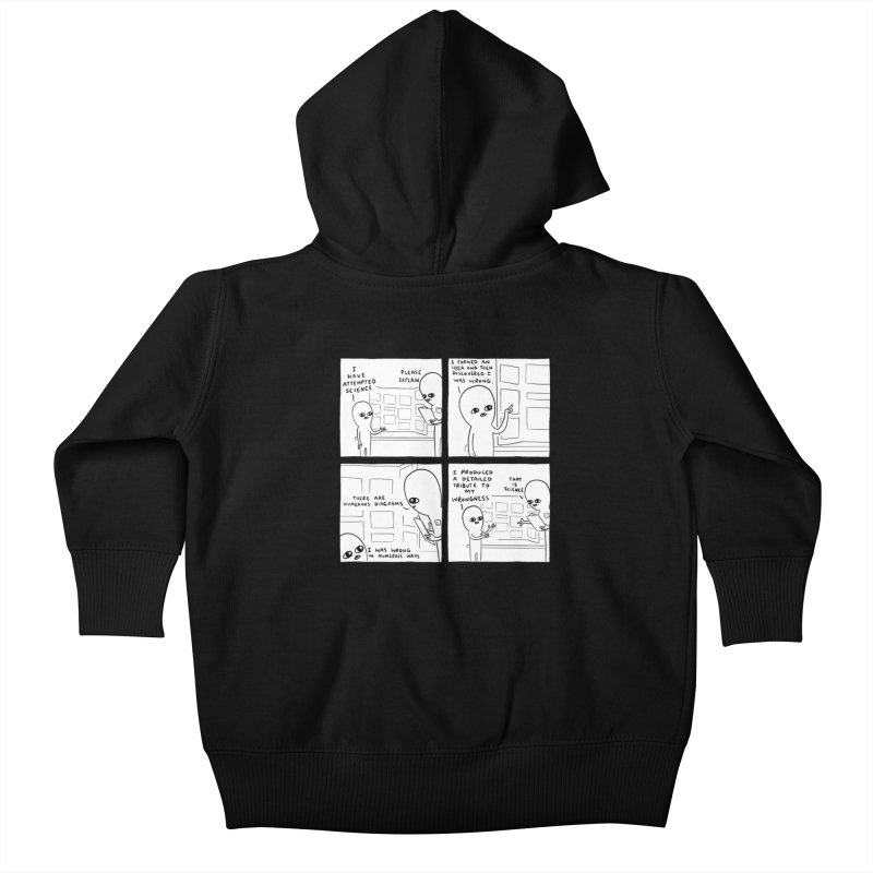 STRANGE PLANET BLACK AND WHITE: I HAVE ATTEMPTED SCIENCE Kids Baby Zip-Up Hoody by Nathan W Pyle