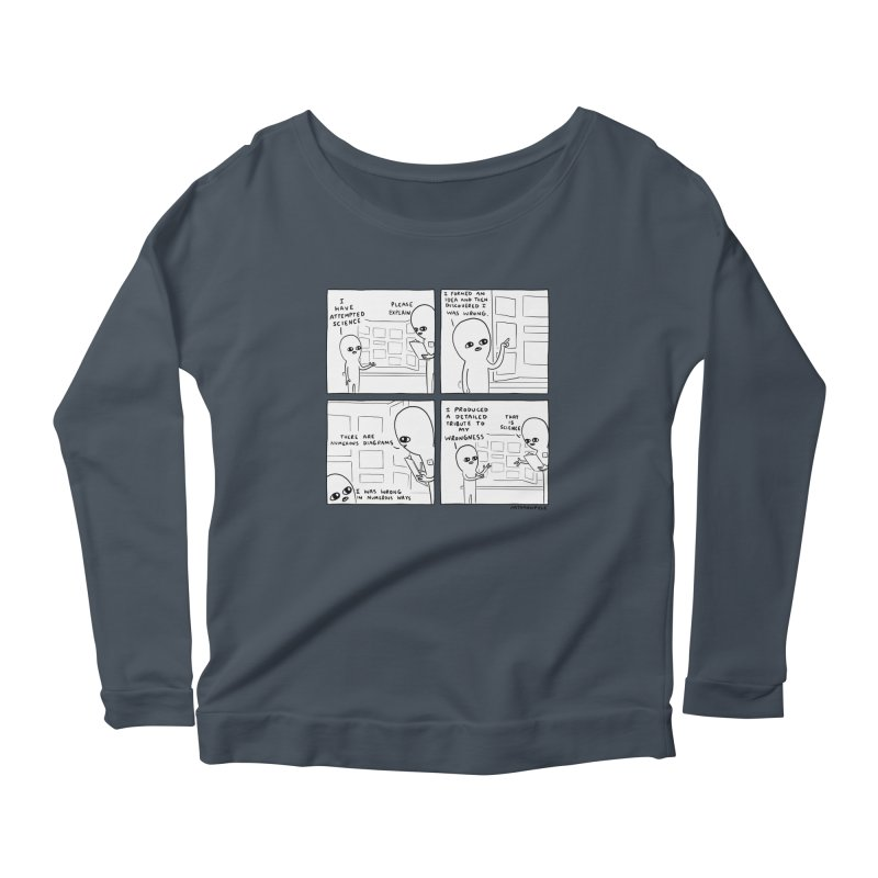 STRANGE PLANET BLACK AND WHITE: I HAVE ATTEMPTED SCIENCE Women's Scoop Neck Longsleeve T-Shirt by Nathan W Pyle