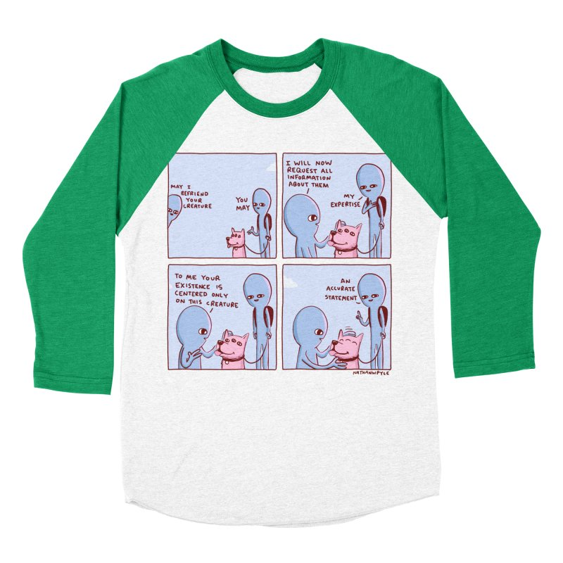 STRANGE PLANET: MAY I BEFRIEND YOUR CREATURE Men's Baseball Triblend Longsleeve T-Shirt by Nathan W Pyle