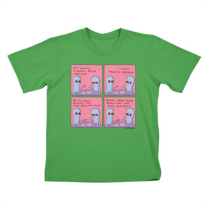 STRANGE PLANET: PERHAPS I PREFER MORE MINERALS Kids T-Shirt by Nathan W Pyle