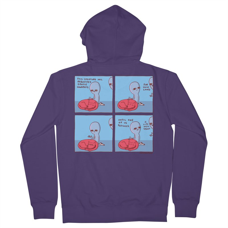 STRANGE PLANET SPECIAL PRODUCT: THIS CREATURE HAS REQUESTED GENTLE HANDPATS Women's French Terry Zip-Up Hoody by Nathan W Pyle