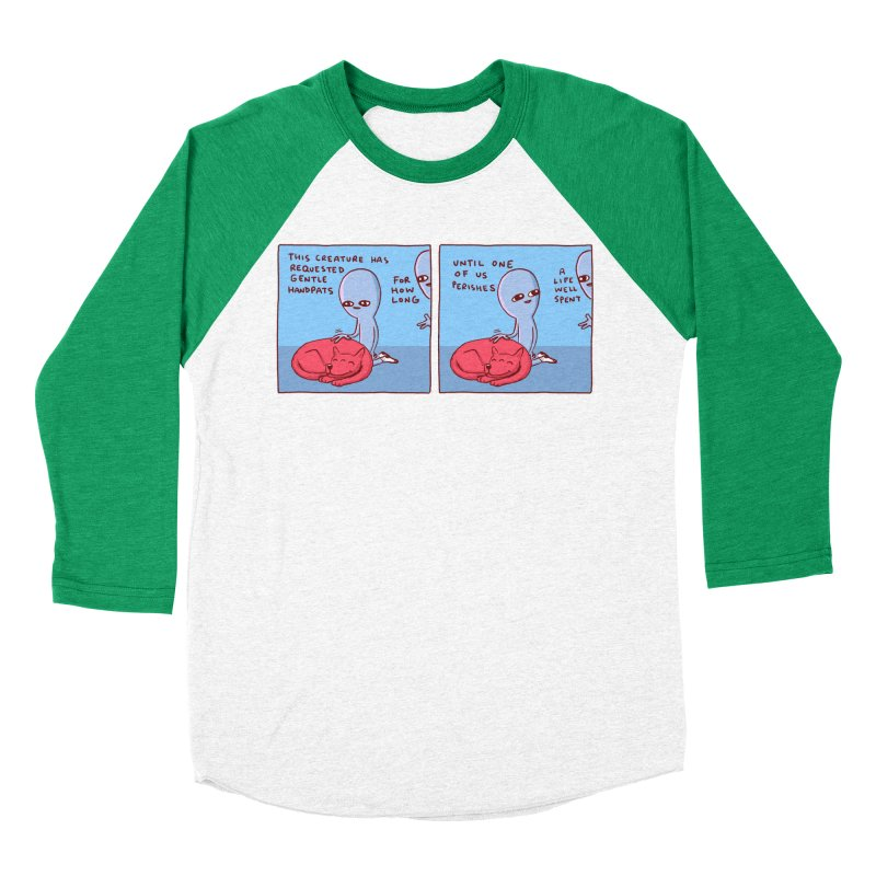 STRANGE PLANET SPECIAL PRODUCT: 2 PANEL THIS CREATURE HAS REQUESTED GENTLE HANDPATS Women's Baseball Triblend Longsleeve T-Shirt by Nathan W Pyle