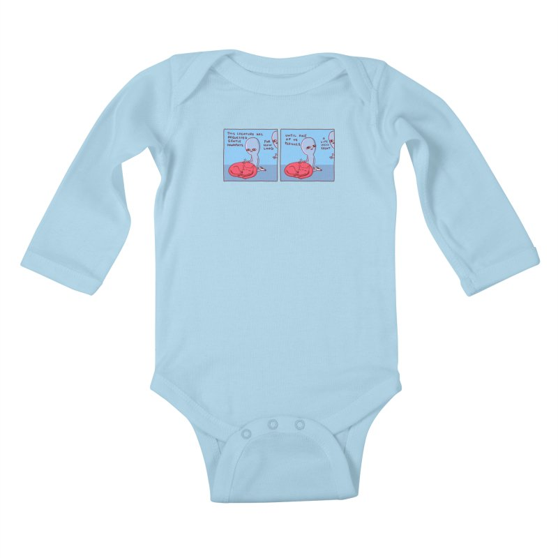 STRANGE PLANET SPECIAL PRODUCT: 2 PANEL THIS CREATURE HAS REQUESTED GENTLE HANDPATS Kids Baby Longsleeve Bodysuit by Nathan W Pyle