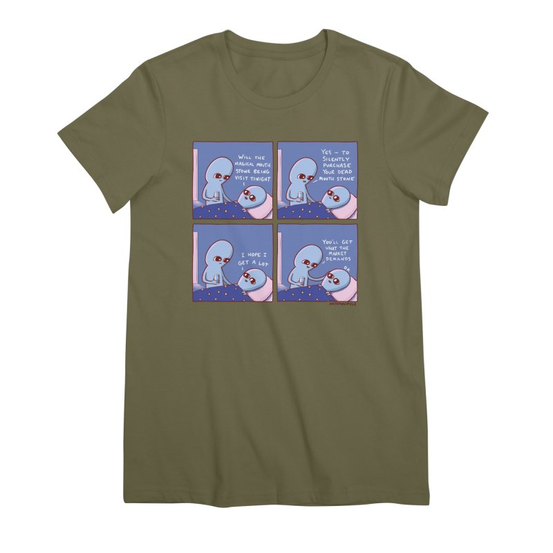 STRANGE PLANET: MAGICAL MOUTH STONE BEING / YOU'LL GET WHAT THE MARKET DEMANDS Women's Premium T-Shirt by Nathan W Pyle