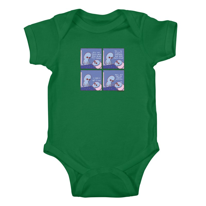 STRANGE PLANET: MAGICAL MOUTH STONE BEING / YOU'LL GET WHAT THE MARKET DEMANDS Kids Baby Bodysuit by Nathan W Pyle