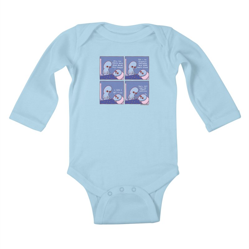 STRANGE PLANET: MAGICAL MOUTH STONE BEING / YOU'LL GET WHAT THE MARKET DEMANDS Kids Baby Longsleeve Bodysuit by Nathan W Pyle