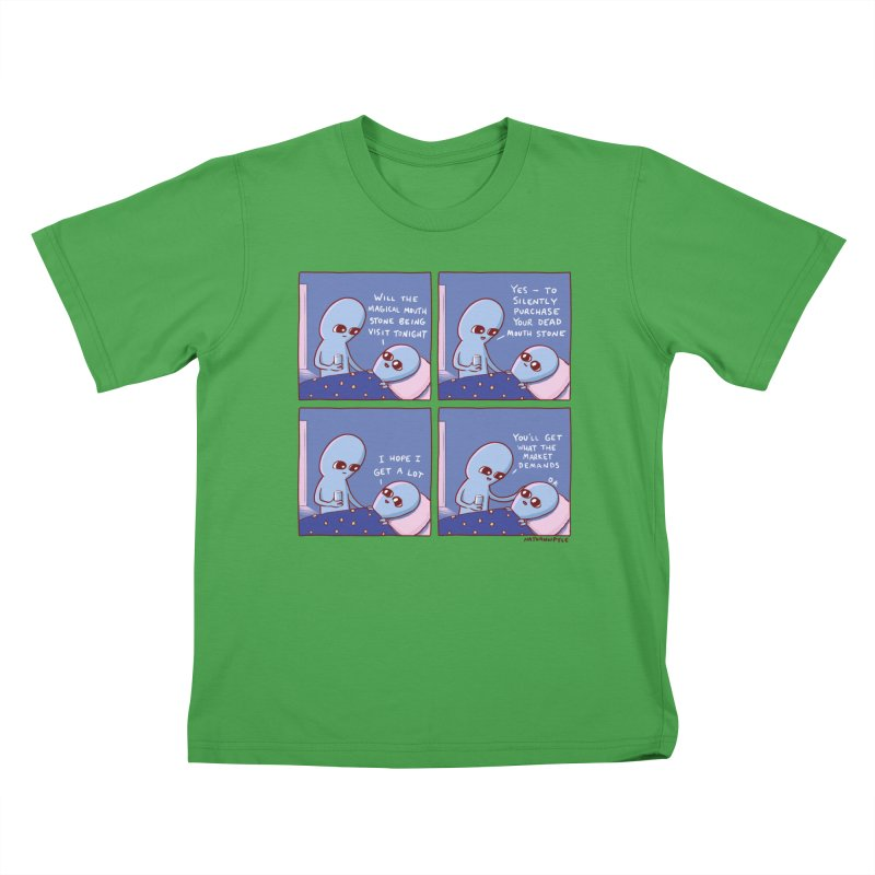 STRANGE PLANET: MAGICAL MOUTH STONE BEING / YOU'LL GET WHAT THE MARKET DEMANDS Kids T-Shirt by Nathan W Pyle