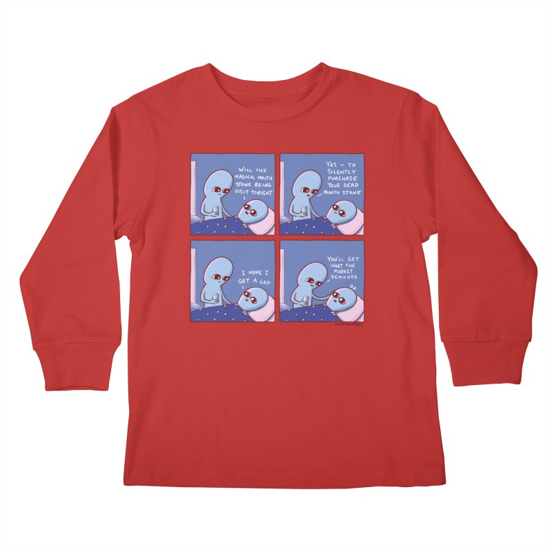 STRANGE PLANET: MAGICAL MOUTH STONE BEING / YOU'LL GET WHAT THE MARKET DEMANDS Kids Longsleeve T-Shirt by Nathan W Pyle