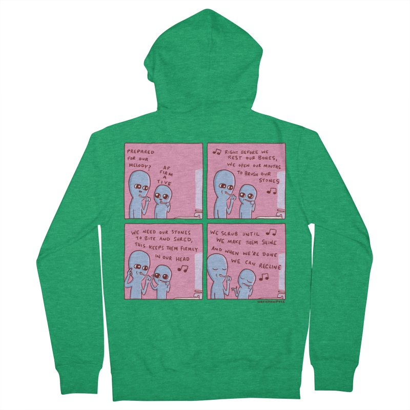 STRANGE PLANET: MOUTH STONE MELODY Men's Zip-Up Hoody by Nathan W Pyle