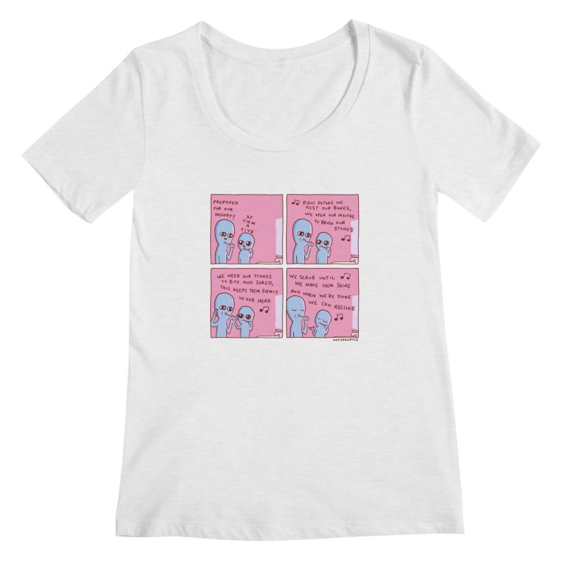 STRANGE PLANET: MOUTH STONE MELODY Women's Regular Scoop Neck by Nathan W Pyle