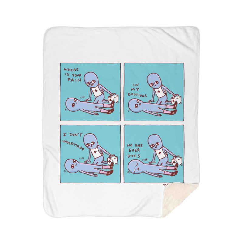STRANGE PLANET: WHERE IS YOUR PAIN / IN MY EMOTIONS Home Sherpa Blanket Blanket by Nathan W Pyle