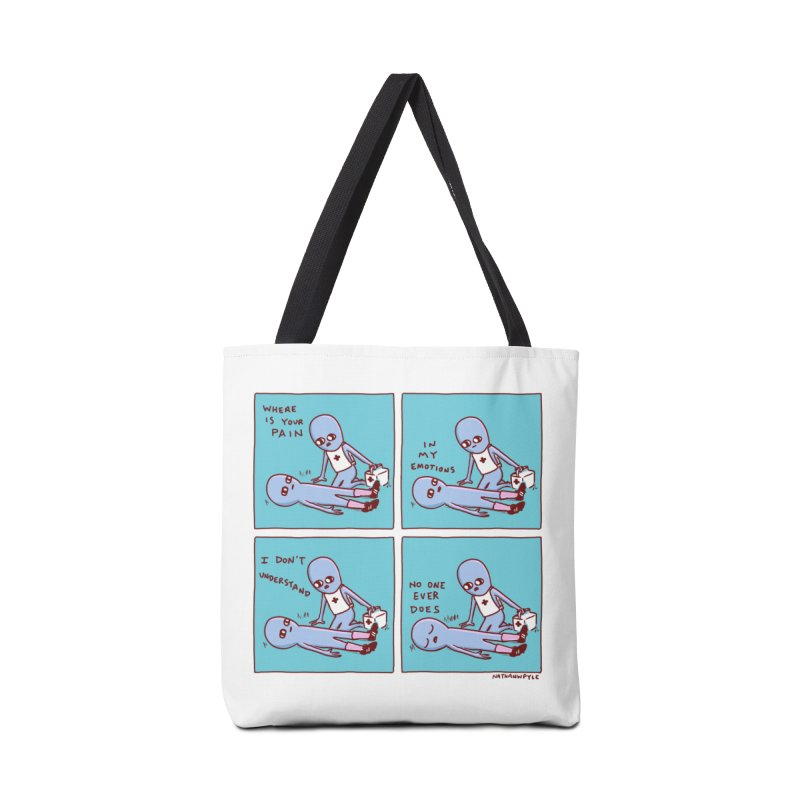 STRANGE PLANET: WHERE IS YOUR PAIN / IN MY EMOTIONS Accessories Tote Bag Bag by Nathan W Pyle