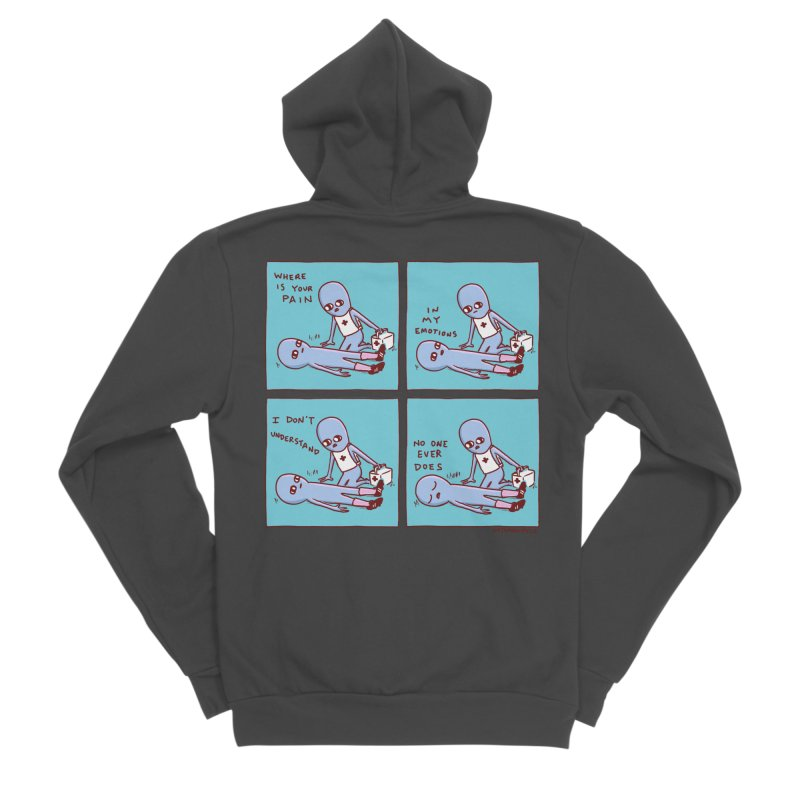 STRANGE PLANET: WHERE IS YOUR PAIN / IN MY EMOTIONS Women's Sponge Fleece Zip-Up Hoody by Nathan W Pyle