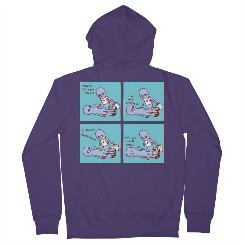 STRANGE PLANET: WHERE IS YOUR PAIN / IN MY EMOTIONS Women's French Terry Zip-Up Hoody by Nathan W Pyle
