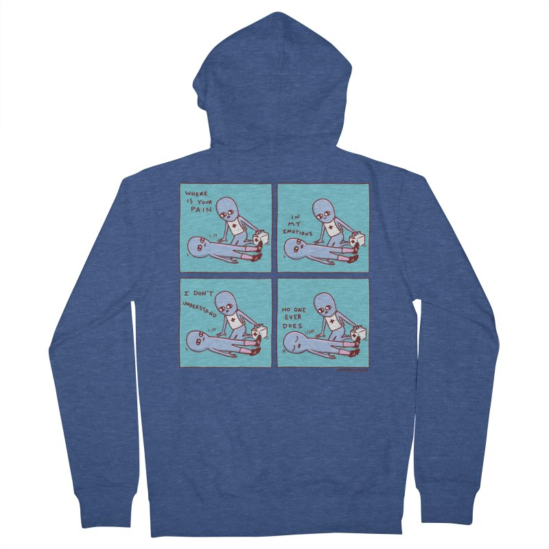 STRANGE PLANET: WHERE IS YOUR PAIN / IN MY EMOTIONS Men's French Terry Zip-Up Hoody by Nathan W Pyle