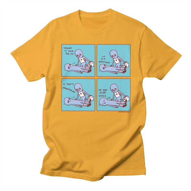STRANGE PLANET: WHERE IS YOUR PAIN / IN MY EMOTIONS Men's T-Shirt by Nathan W Pyle