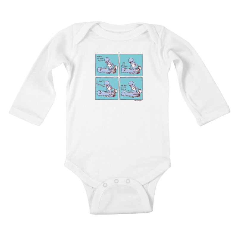 STRANGE PLANET: WHERE IS YOUR PAIN / IN MY EMOTIONS Kids Baby Longsleeve Bodysuit by Nathan W Pyle