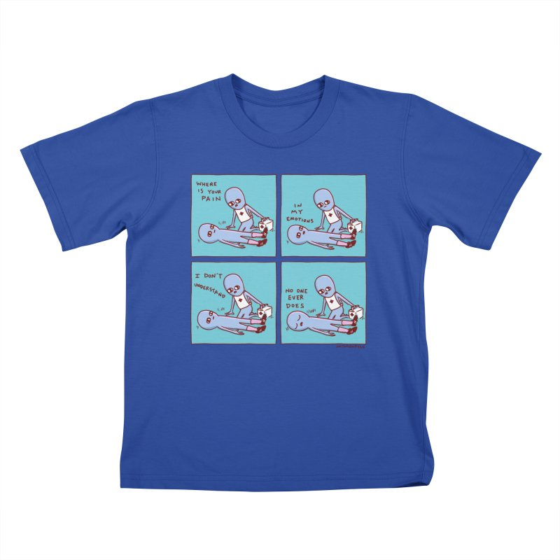 STRANGE PLANET: WHERE IS YOUR PAIN / IN MY EMOTIONS Kids T-Shirt by Nathan W Pyle