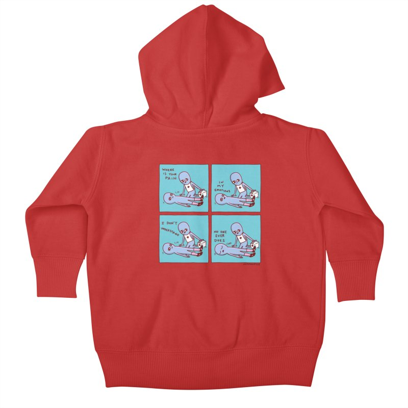 STRANGE PLANET: WHERE IS YOUR PAIN / IN MY EMOTIONS Kids Baby Zip-Up Hoody by Nathan W Pyle
