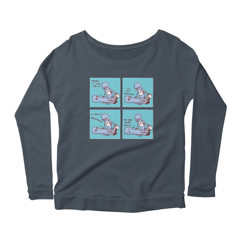 STRANGE PLANET: WHERE IS YOUR PAIN / IN MY EMOTIONS Women's Scoop Neck Longsleeve T-Shirt by Nathan W Pyle