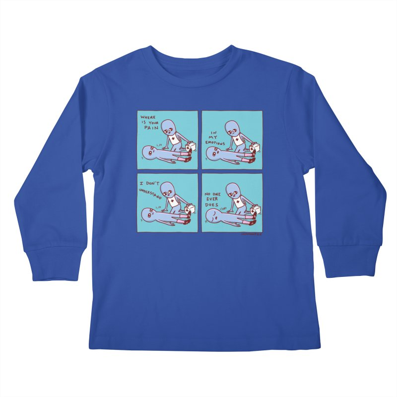 STRANGE PLANET: WHERE IS YOUR PAIN / IN MY EMOTIONS Kids Longsleeve T-Shirt by Nathan W Pyle