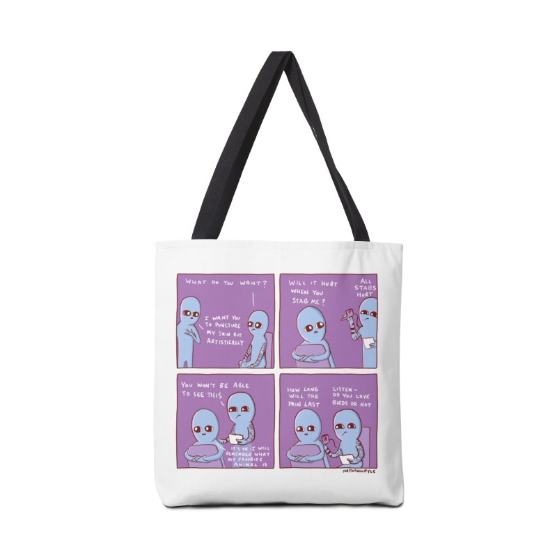 STRANGE PLANET: I WANT YOU TO PUNCTURE MY SKIN BUT ARTISTICALLY Accessories Tote Bag Bag by Nathan W Pyle