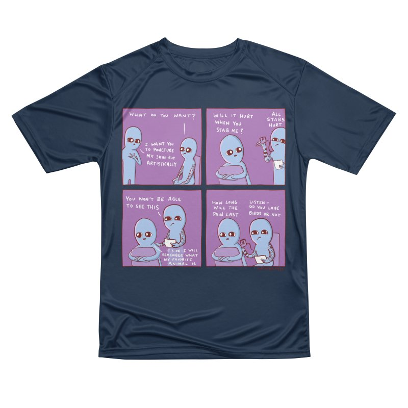 STRANGE PLANET: I WANT YOU TO PUNCTURE MY SKIN BUT ARTISTICALLY Men's Performance T-Shirt by Nathan W Pyle