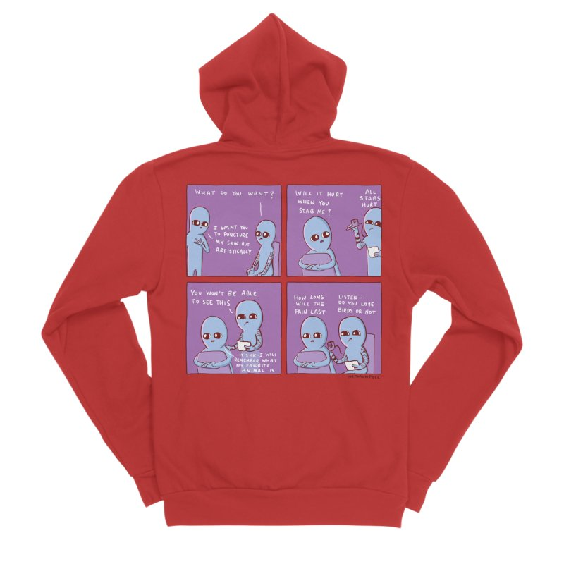 STRANGE PLANET: I WANT YOU TO PUNCTURE MY SKIN BUT ARTISTICALLY Women's Zip-Up Hoody by Nathan W Pyle