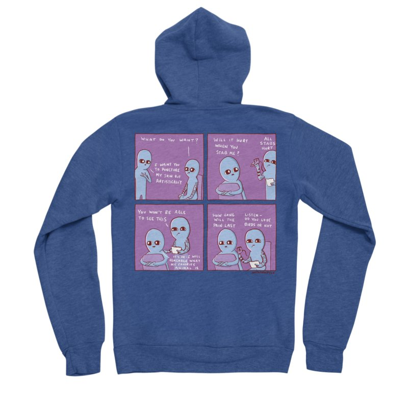 STRANGE PLANET: I WANT YOU TO PUNCTURE MY SKIN BUT ARTISTICALLY Men's Sponge Fleece Zip-Up Hoody by Nathan W Pyle