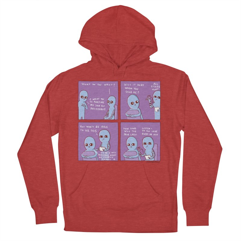 STRANGE PLANET: I WANT YOU TO PUNCTURE MY SKIN BUT ARTISTICALLY Men's French Terry Pullover Hoody by Nathan W Pyle