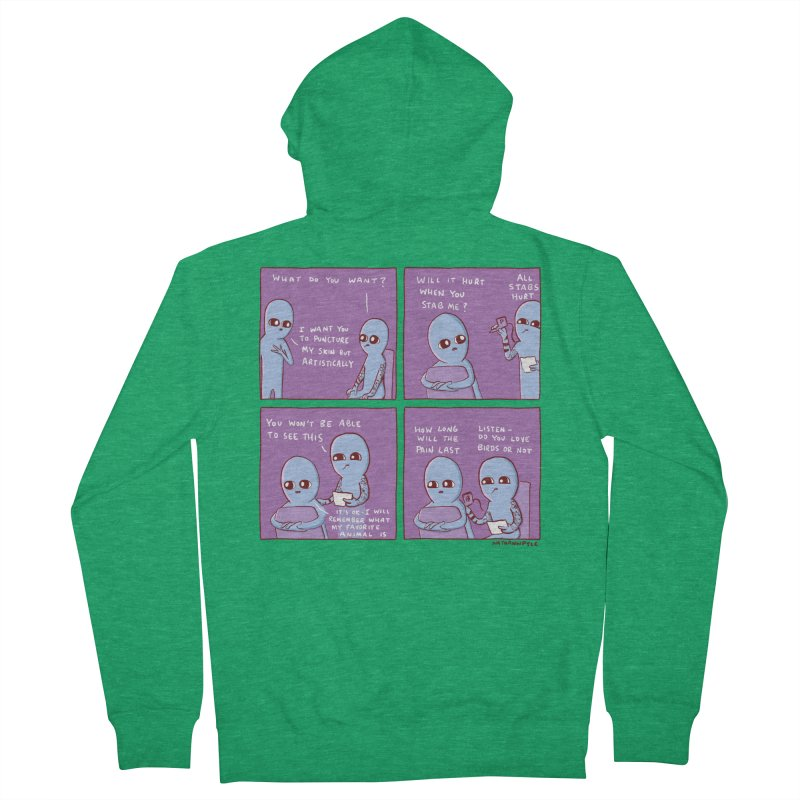 STRANGE PLANET: I WANT YOU TO PUNCTURE MY SKIN BUT ARTISTICALLY Men's Zip-Up Hoody by Nathan W Pyle