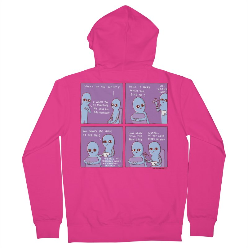 STRANGE PLANET: I WANT YOU TO PUNCTURE MY SKIN BUT ARTISTICALLY Men's French Terry Zip-Up Hoody by Nathan W Pyle