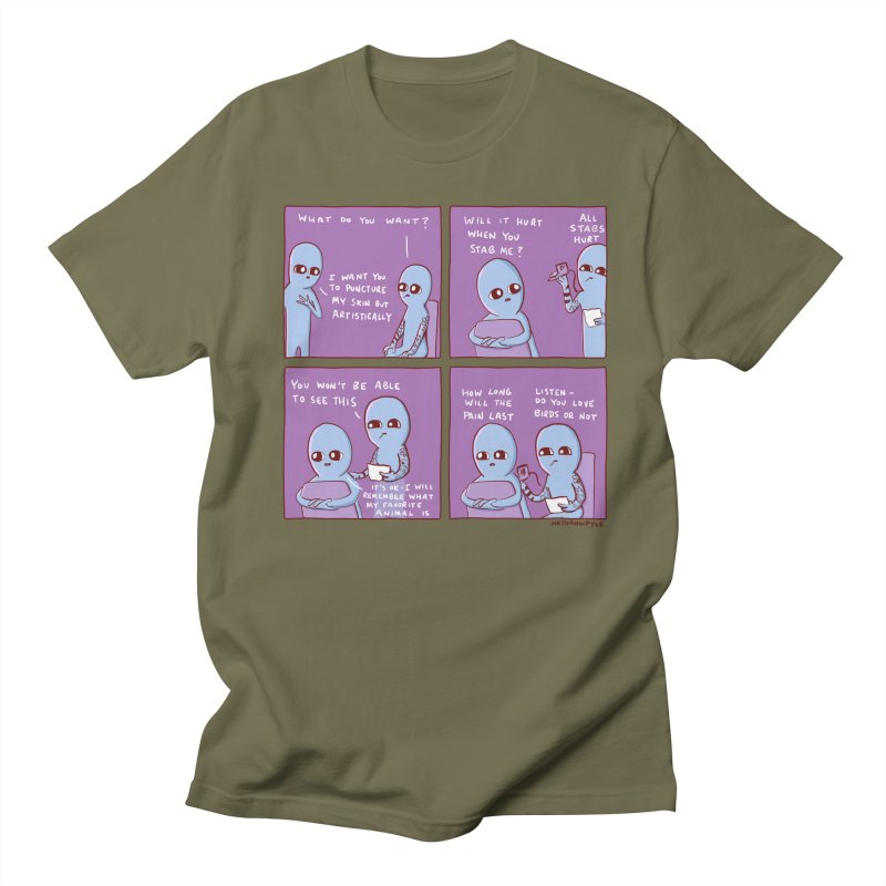 STRANGE PLANET: I WANT YOU TO PUNCTURE MY SKIN BUT ARTISTICALLY Men's T-Shirt by Nathan W Pyle