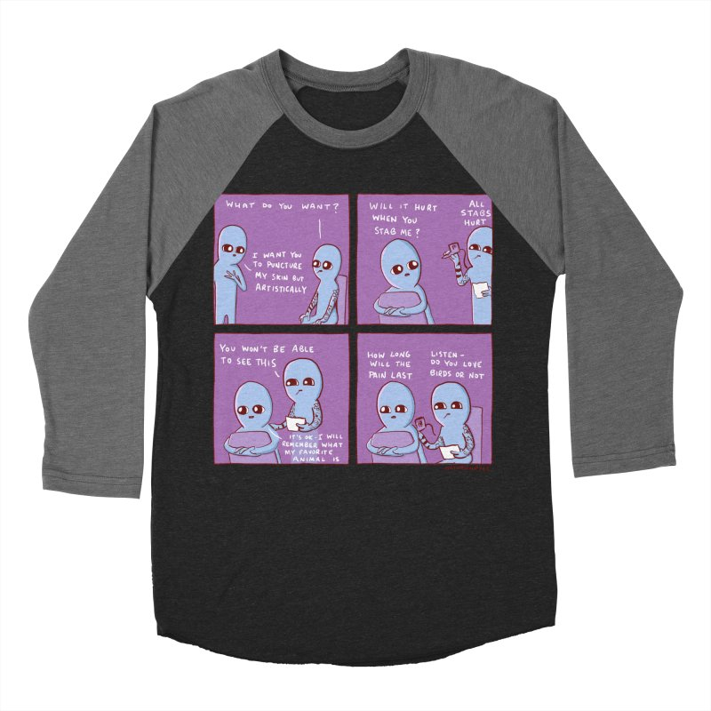 STRANGE PLANET: I WANT YOU TO PUNCTURE MY SKIN BUT ARTISTICALLY Women's Baseball Triblend Longsleeve T-Shirt by Nathan W Pyle