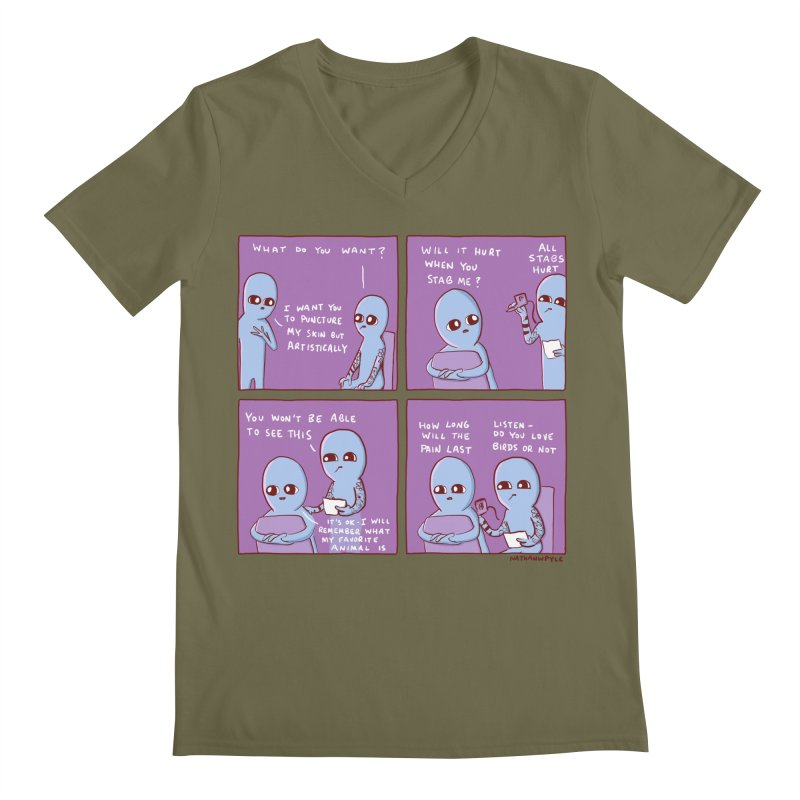 STRANGE PLANET: I WANT YOU TO PUNCTURE MY SKIN BUT ARTISTICALLY Men's Regular V-Neck by Nathan W Pyle