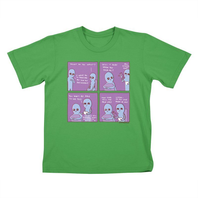 STRANGE PLANET: I WANT YOU TO PUNCTURE MY SKIN BUT ARTISTICALLY Kids T-Shirt by Nathan W Pyle