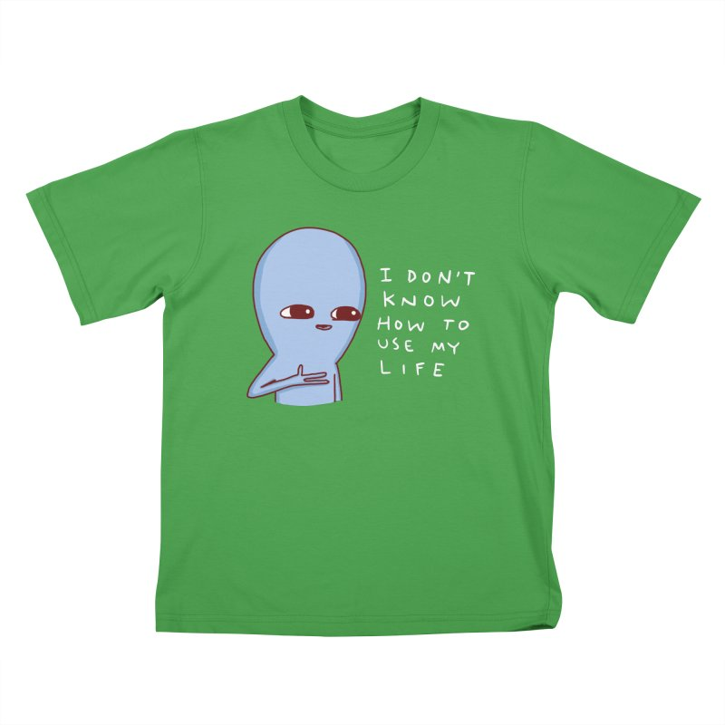 STRANGE PLANET SPECIAL PRODUCT: I DON'T KNOW HOW TO USE MY LIFE Kids T-Shirt by Nathan W Pyle