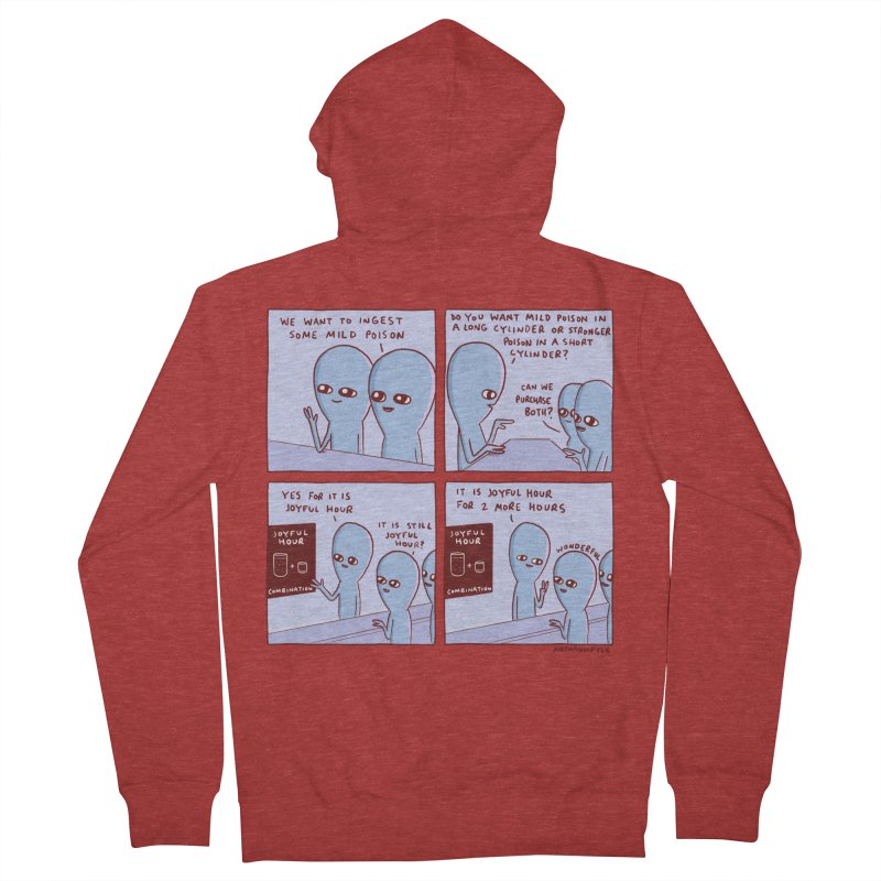 STRANGE PLANET: WE WANT TO INGEST SOME MILD POISON / JOYFUL HOUR Men's French Terry Zip-Up Hoody by Nathan W Pyle