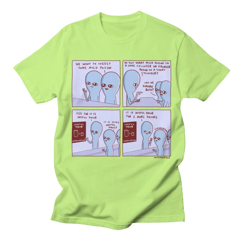 STRANGE PLANET: WE WANT TO INGEST SOME MILD POISON / JOYFUL HOUR Men's T-Shirt by Nathan W Pyle