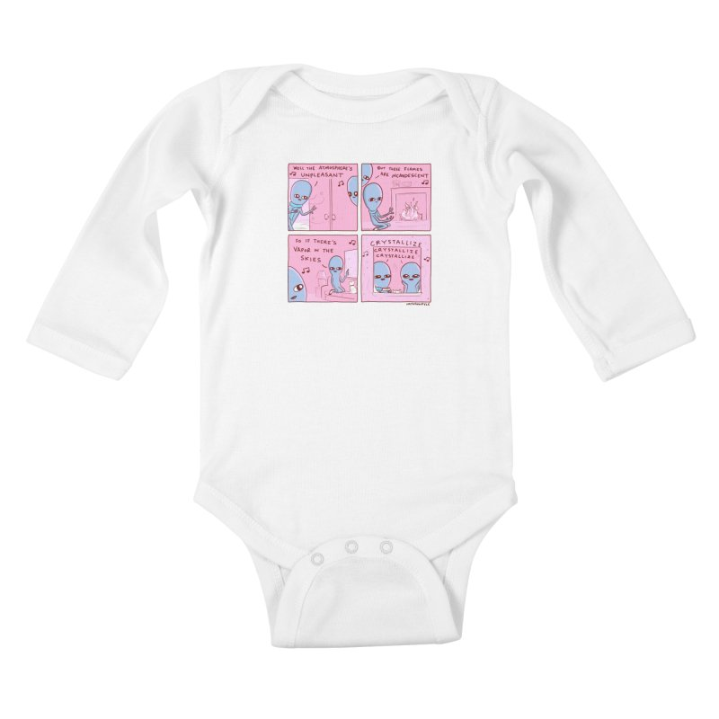 STRANGE PLANET: CRYSTALLIZE CRYSTALLIZE CRYSTALLIZE Kids Baby Longsleeve Bodysuit by Nathan W Pyle