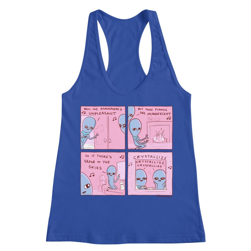 STRANGE PLANET: CRYSTALLIZE CRYSTALLIZE CRYSTALLIZE Women's Racerback Tank by Nathan W Pyle