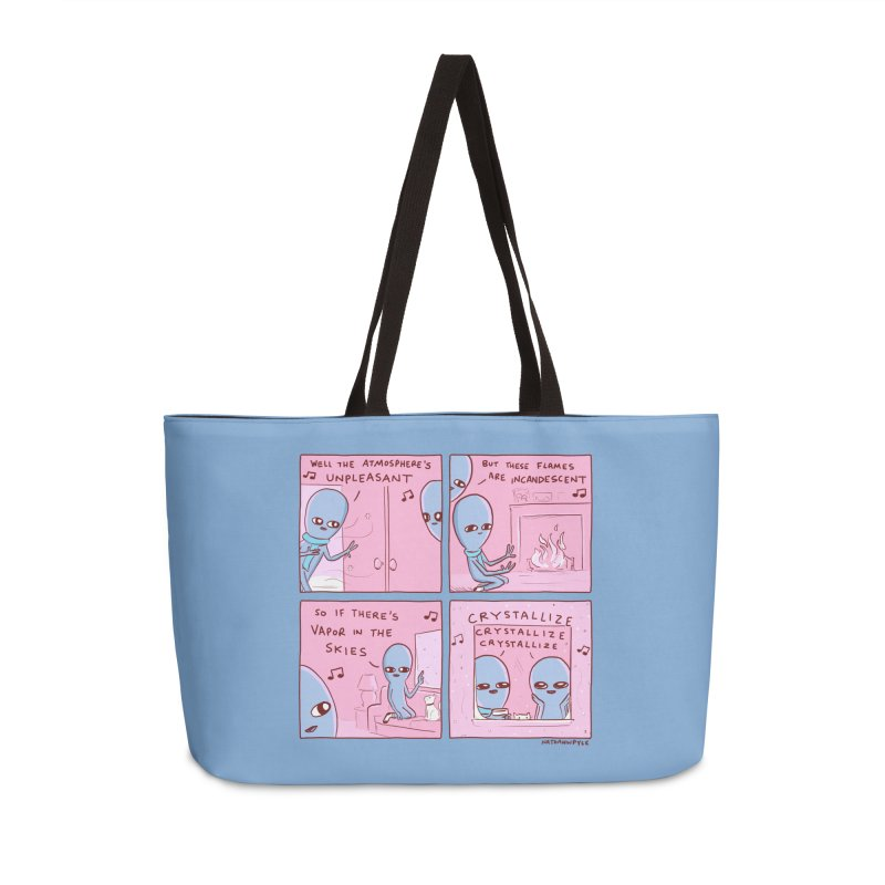 STRANGE PLANET: CRYSTALLIZE (BLUE BACKGROUND) Accessories Weekender Bag Bag by Nathan W Pyle