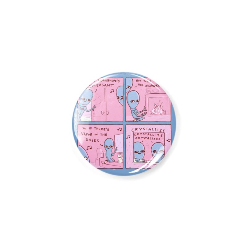 STRANGE PLANET: CRYSTALLIZE (BLUE BACKGROUND) Accessories Button by Nathan W Pyle